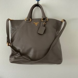 Prada Large Genuine Soft Calf Leather Tote